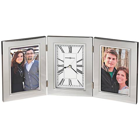 "Howard Miller Trio 11""W 2-Photo Frame Polished Silver Clock"