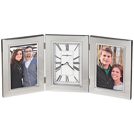 "Howard Miller Trio 11""W 2-Photo Frame Polished Silver Clock"