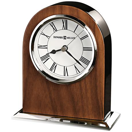 "Howard Miller Palermo 6"" High Glossy Walnut Veneer Clock"