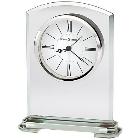 "Howard Miller Corsica 6 3/4"" High Beveled Jade Glass Clock"