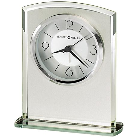 "Howard Miller Glamour 6 1/4"" High Frosted Glass Table Clock"