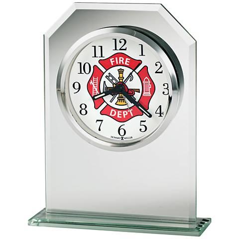 """Howard Miller Valiant 6 1/4"""" High Beveled Glass Alarm Clock"""