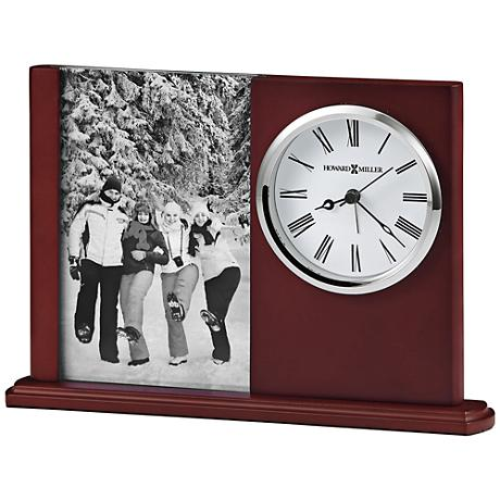 "Howard Miller Portrait Caddy 9 1/4""W Woody 4x6 Photo Clock"