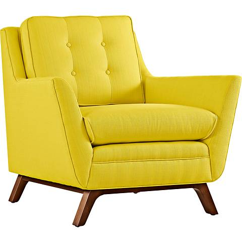 Beguile Sunny Yellow Fabric Tufted Armchair