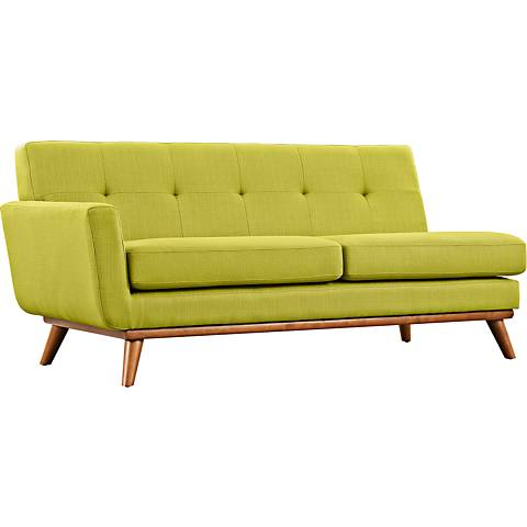 Engage Wheatgrass Fabric Tufted Left-Arm Loveseat