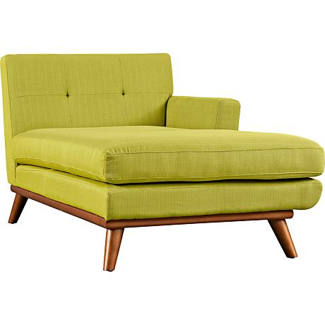 Engage Wheatgrass Tufted Fabric Right-Arm Chaise