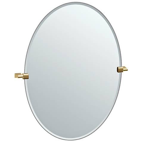 """Bleu Matte Brass 28 1/4"""" x 32"""" Large Oval Wall Mirror"""