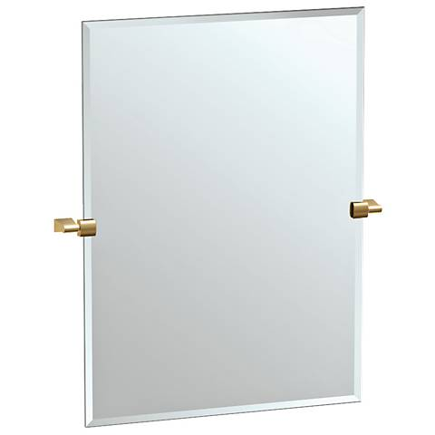 "Bleu Matte Brass 27 3/4"" x 31 1/2"" Rectangle Wall Mirror"