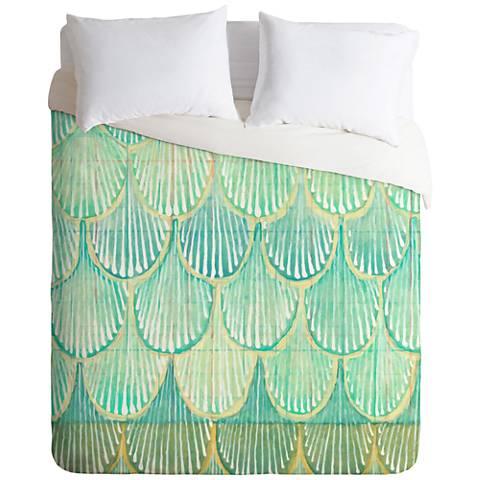 Cori Dantini Turquoise Scallops Duvet Cover