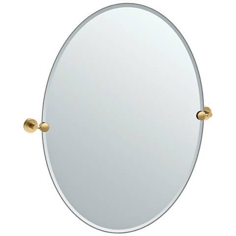 """Latitude II Brass 28 1/4"""" x 32"""" Large Oval Wall Mirror"""