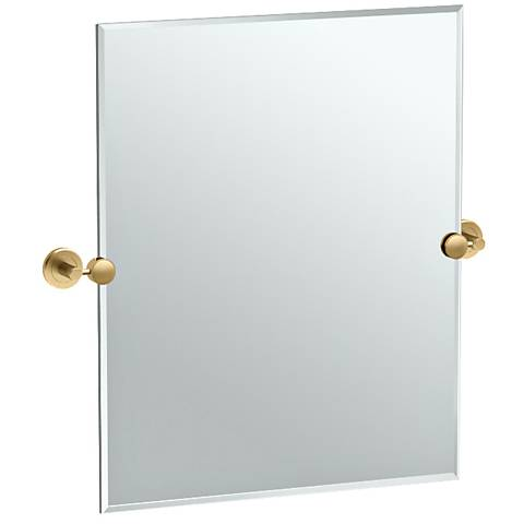 """Latitude II Brass 24"""" x 24"""" Rectangle Wall Mirror"""