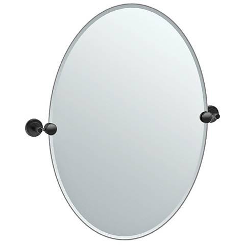 "Latitude II Black 23 1/2"" x 26 1/2"" Small Oval Mirror"