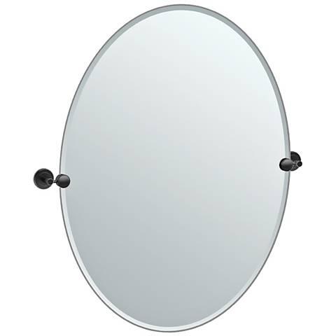 """Latitude II Black 28 1/4"""" x 32"""" Large Oval Wall Mirror"""