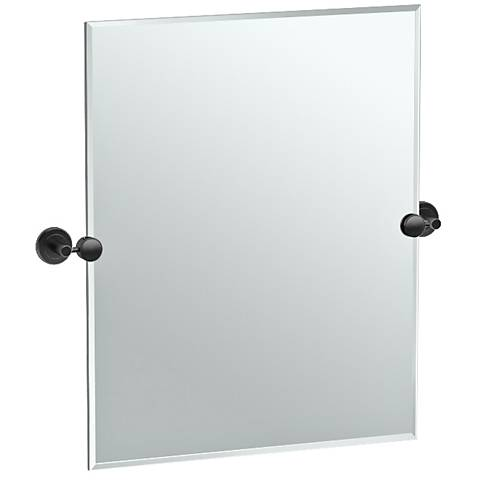 "Latitude II Black 24"" x 24"" Rectangle Wall Mirror"
