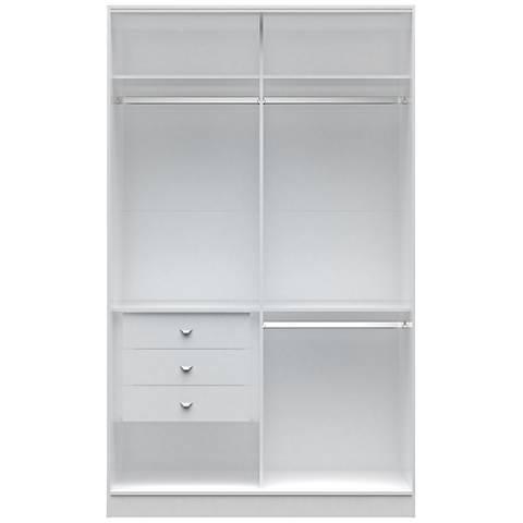 Chelsea 1.0 White Wood Double Basic Wardrobe Closet