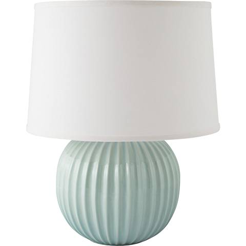 RiverCeramic® Fluted Round Gloss Mist Gray Table Lamp