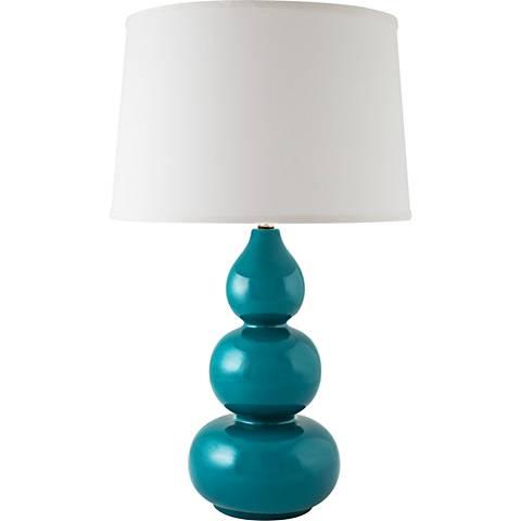RiverCeramic® Triple Gourd Gloss Ocean Table Lamp