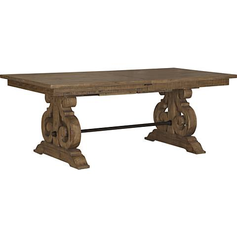 Willoughby Weathered Barley Extendable Wood Dining Table - Bellamy Deep Weathered Pine Extendable Dining Table - #3V934