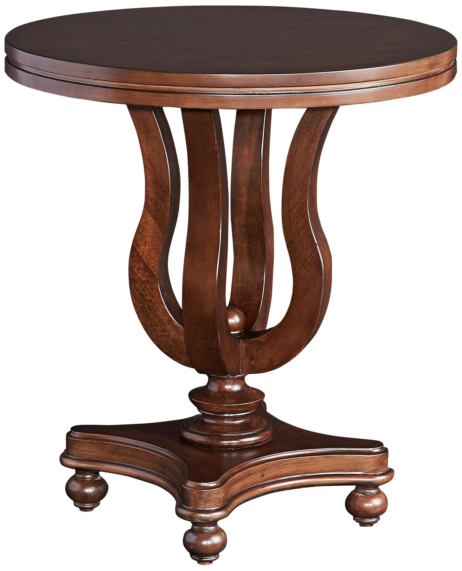 Masterpiece Ethan Antique Walnut Round Side Table
