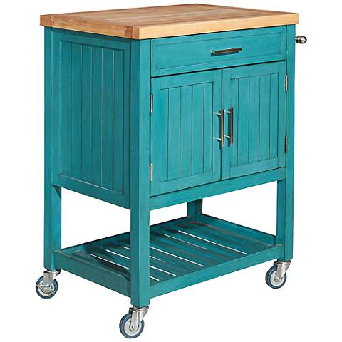 Sydney Teal Wood Kitchen Cart