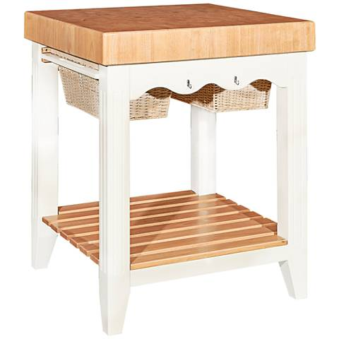 Color Story White Butcher Block Kitchen Island with Storage