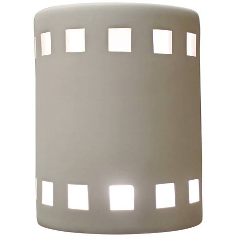 """Jaken 10"""" High White Bisque Outdoor Wall Light with Squares"""