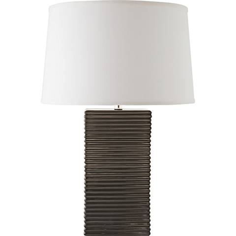 RiverCeramic® Layered Texture Gloss Charcoal Table Lamp