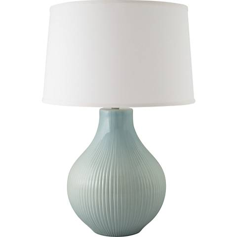 RiverCeramic® Classic Fluted Gloss Mist Gray Table Lamp