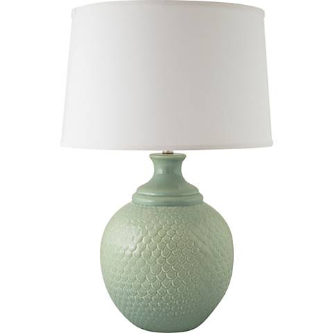 RiverCeramic® Shell Dance Gloss Wythe Blue Table Lamp