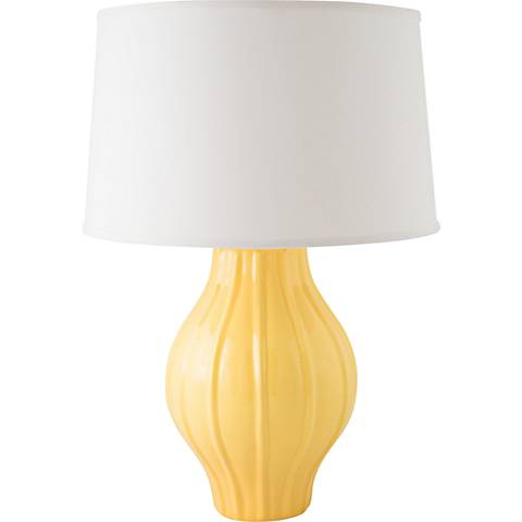 RiverCeramic® Large Fluted Gloss Straw Yellow Table Lamp