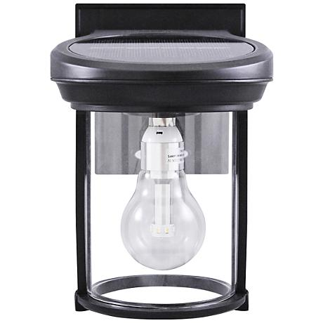 "Black Coach Style 7 1/2"" High Solar LED Outdoor Wall Light"