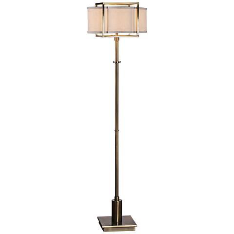 uttermost bettino plated antique brass pillar floor lamp - #13x03