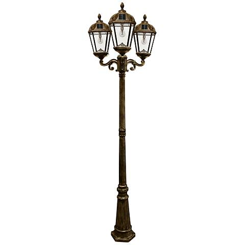 "Royal Bulb 89""H Bronze 3-Lamp Solar LED Outdoor Post Light"