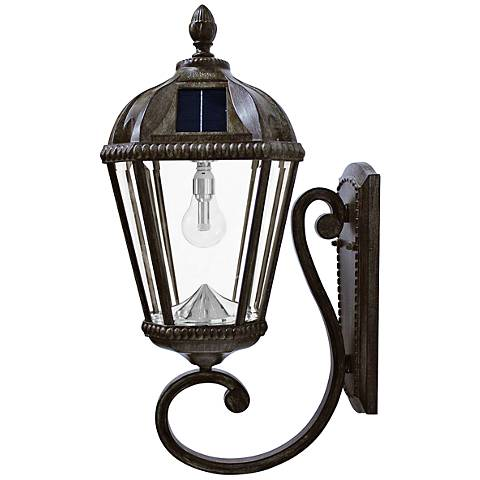 "Royal Bulb 21""H Bronze Solar LED Outdoor Wall Light"