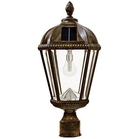 "Royal Bulb 18""H Bronze Outdoor Solar LED Post-Mount Lamp"