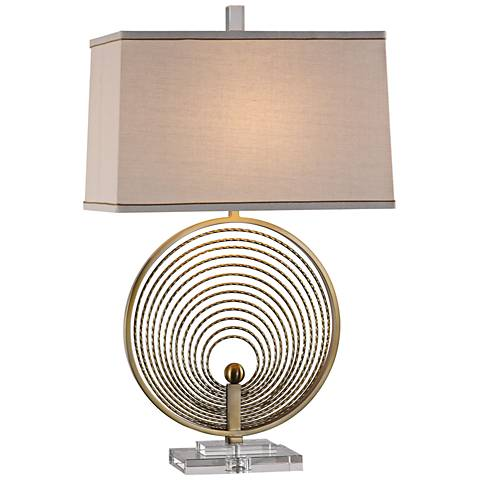 Uttermost Petrelli Plated Brass Tubular Rings Table Lamp