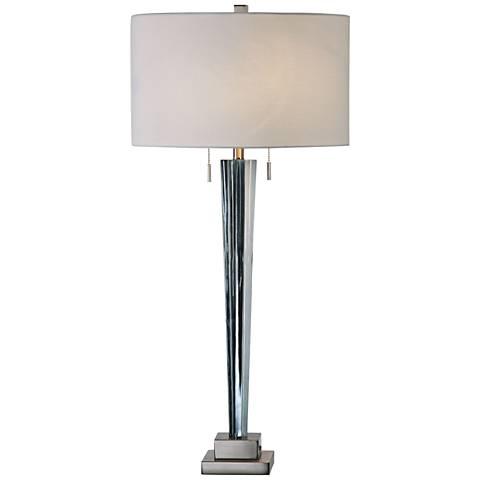 Uttermost Afna Translucent Blue Fluted Glass Table Lamp