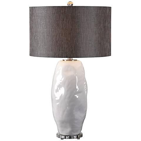 Uttermost Assana Gloss White Organic Ceramic Table Lamp