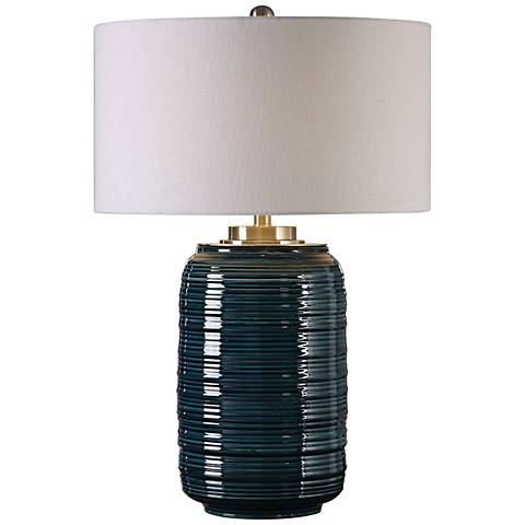 Uttermost Delane Dark Teal Ribbed Ceramic Table Lamp