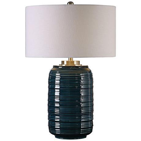 Uttermost Delane Dark Teal Ribbed Ceramic Table Lamp