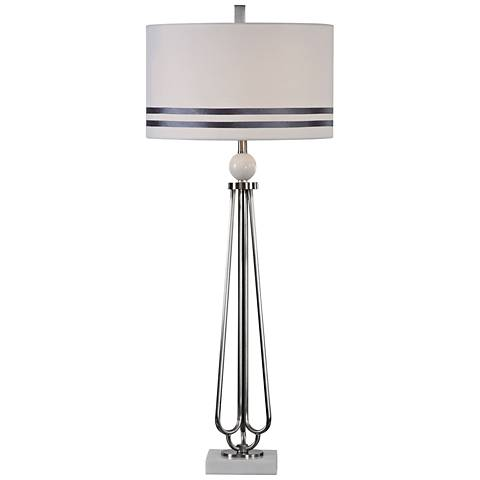 Uttermost Jamanda Plated Nickel with White Marble Table Lamp