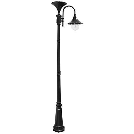 """Everest 92"""" High Black Solar LED Outdoor Post Light"""