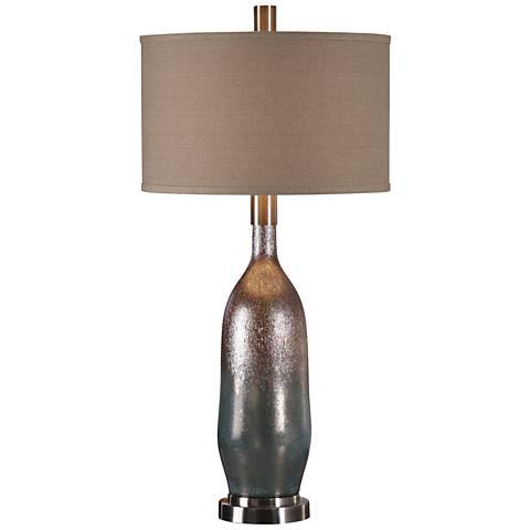 Uttermost Basola Olive Gray Organic Glass Vase Table Lamp