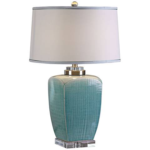 Uttermost Linnae Light Blue Mesh Ceramic Table Lamp