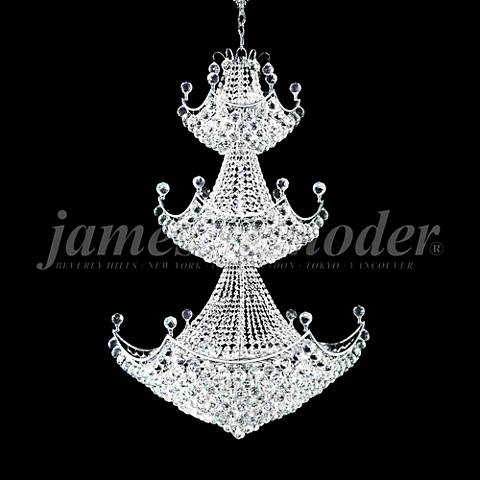 "James Moder Jacqueline 36""W Silver Entry Crystal Chandelier"
