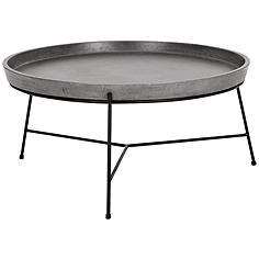Remy Round Gray Concrete Top and Black Metal Coffee Table