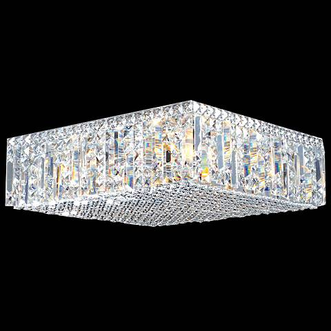 "Contemporary 20"" Wide Silver Square Crystal Ceiling Light"