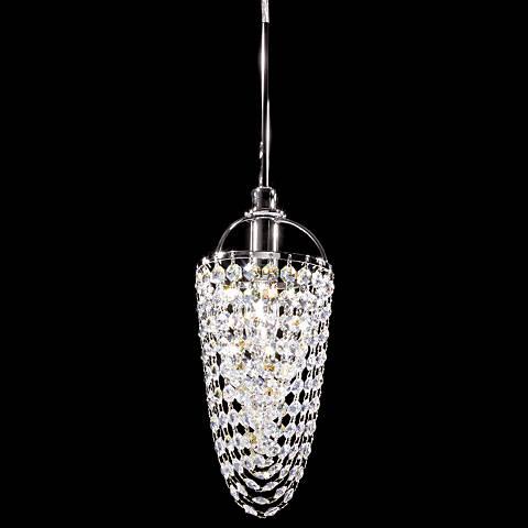 "Contemporary 5"" Wide Silver Crystal Basket Mini Pendant"