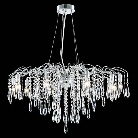 "James Moder Contemporary 31"" Wide Silver Crystal Chandelier"