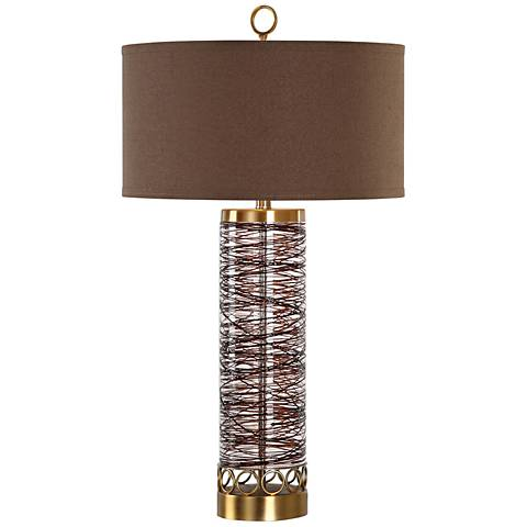 Uttermost Seaver Chocolate Bronze Sugar-Spun Glass Table Lamp